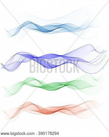 Abstract Smooth Color Wave Vector Set On Transparent Background. Curve Flow Motion Illustration