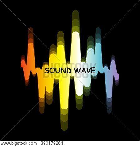 Spectrum Sound Wave Logo. Vector Digital Colorful Waveform With Blur Effect On Black Background. Mod