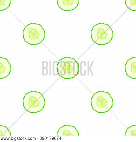 Illustration On Theme Of Bright Pattern Green Cucumber, Vegetable Plant For Seal. Vegetable Pattern
