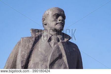 The Old Crumbling Monument Of Vladimir Lenin  In Belarus