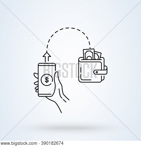 Send Money Low-cost Sign Line Icon Or Logo. Online Money Transfer Concept. Holding In Hand Phone. Se