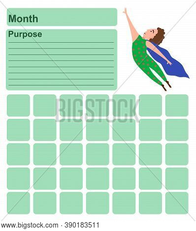 Annual Wall Planner For One Month. Template With An Illustration Of A Man Flying Like Superman. Vect