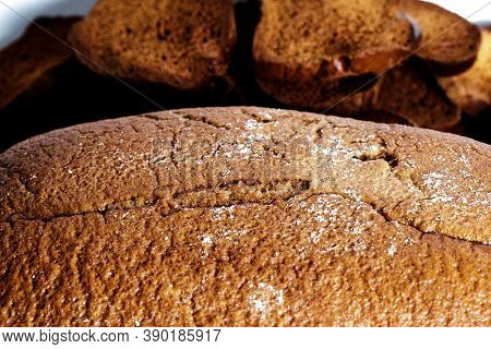 Black Bread Close-up. Texture On White Background