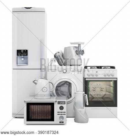 Set Of Kitchen Appliances. Washing Machine, Fridge, Gas Range, Microwave Oven, Meat Grinder, Mixer,