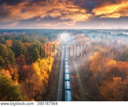Aerial View Of Freight Train In Beautiful Forest In Fog At Sunset In Autumn. Landscape With Railroad