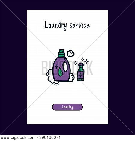 Icon Of Liquid Laundry Detergent And Stain Remover For The Laundry Room In The Doodle Style. Icon Fo