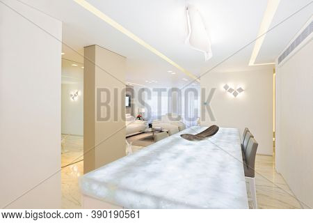 Glow Table in Luxury Dining Room In Modern Home