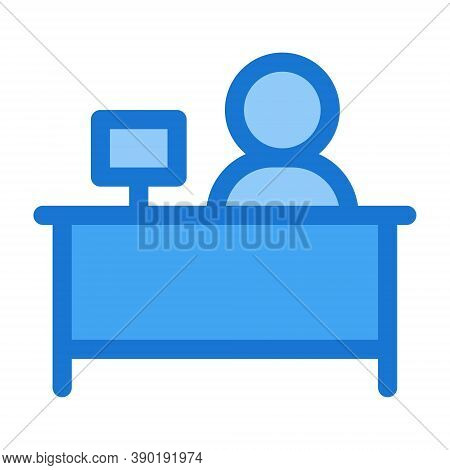 Person Avatar Working At Office Symbol. Workplace Desk, Employee Sign. Flat Icon Illustration For Pe