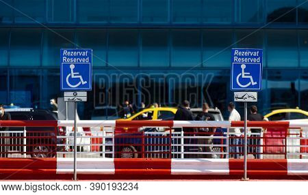 Otopeni, Romania - September 21, 2020: A Reserved Handicapped Parking Sign Is Seen In The Parking Of