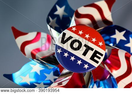 American vote button on blue background