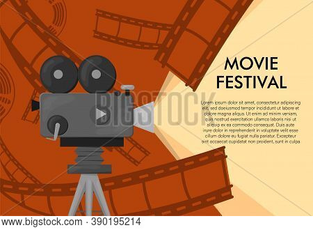Retro Style International Movie Festival Poster Template. Orange Background And Black Colors. Film F