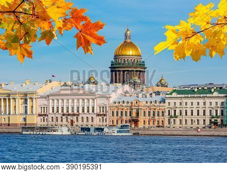 St. Isaac's Cathedral And English Embankment In Autumn, Saint Petersburg, Russia