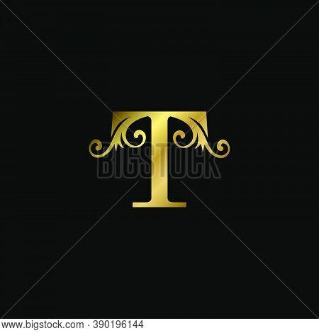 Golden T Initial Letter Luxury Logo Icon, Vintage Luxurious Vector Design Concept Alphabet Letter Fo