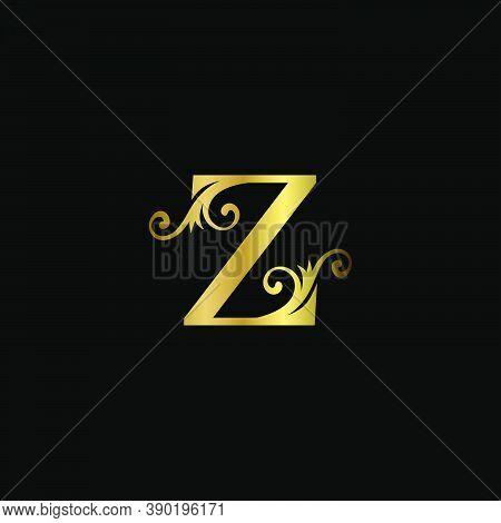 Golden Z Initial Letter Luxury Logo Icon, Vintage Luxurious Vector Design Concept Alphabet Letter Fo