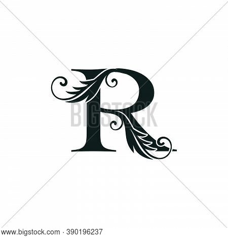 Monogram Initial Letter R Luxury Logo Icon, Luxurious Vector Design Concept Alphabet Letter For Vint