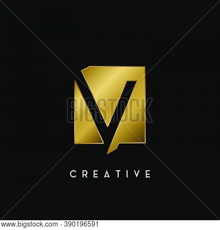 Golden Square Negative Space V Letter Logo. Creative Design Concept Square Shape With Negative Space