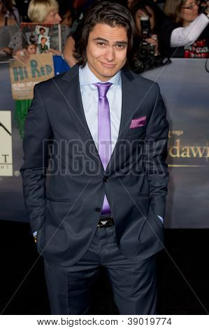 LOS ANGELES, CA - NOVEMBER 12: Actor Kiowa Gordon arrives at the premiere of The Twilight Saga: Breaking Dawn - Part 2 at the Nokia Theater in Los Angeles, CA on November 12, 2012