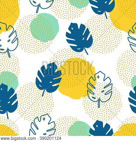 Vector Seamless Pattern With Monstera Palm Leaves And Geometric Elements. Trendy Summer Tropical Des