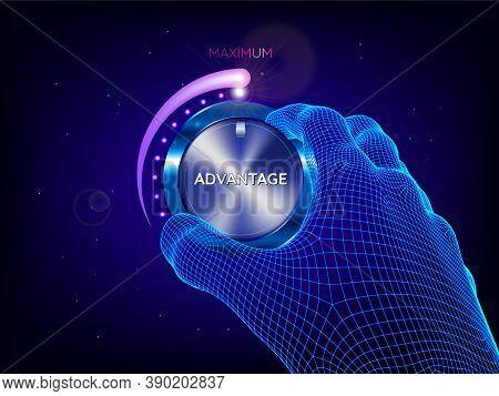 Hand Of Man Tuning Power Control Knob. Artificial Intelligence. Maximum Power, Advantage, Skill Conc