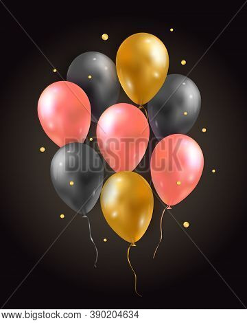 Vector Set Of Glossy Air 3d Flying Balloons And Confetti. Party Decoration For Birthday, Anniversary