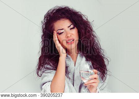 Migraine. Closeup Portrait Young Pretty Adult Hispanic Latina Brunette Woman Feeling Tired And Hango