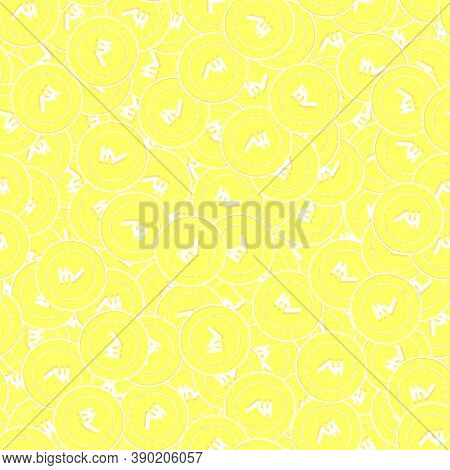 Indian Rupee Gold Coins Seamless Pattern. Ecstatic Scattered Yellow Inr Coins. Success Concept. Indi