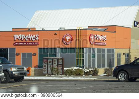 Calgary Alberta, Canada. Oct 17, 2020. Popeyes Is An American Multinational Chain Of Fried Chicken F