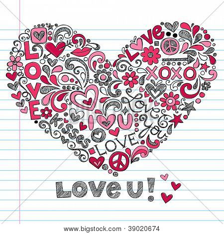 Heart Love Vector- Back to School Sketchy Notebook Doodles Hand-Drawn Vector Illustration on Lined Sketchbook Paper Background