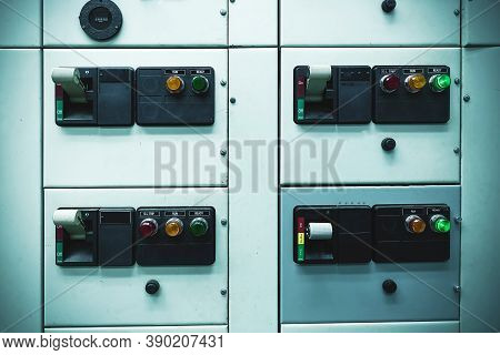 Switch Electrical Safety Main Circuit Breaker Box In Switch Gear Room For Industry Plant Concept.