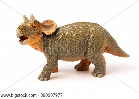 Triceratop Baby Isolated On White Background. Closeup Dinosaur And Monster Model. The Dinosaur From