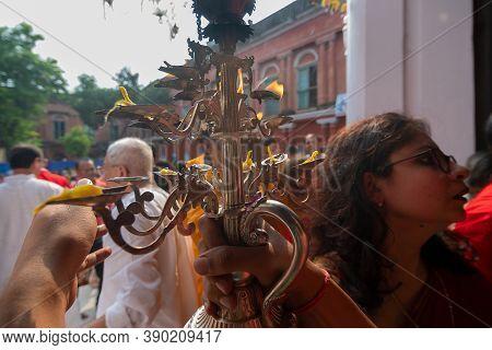 Kolkata, West Bengal, India - 6th October 2019 : Hindu Female And Male Devotees Praying To Goddess D