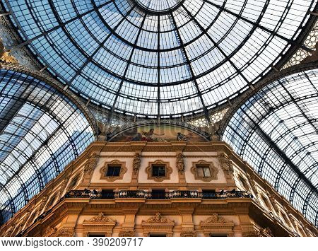 Milan, Italy - March 7 2019: The Galleria Vittorio Emanuele Ii Is Italy's Oldest Active Shopping Mal
