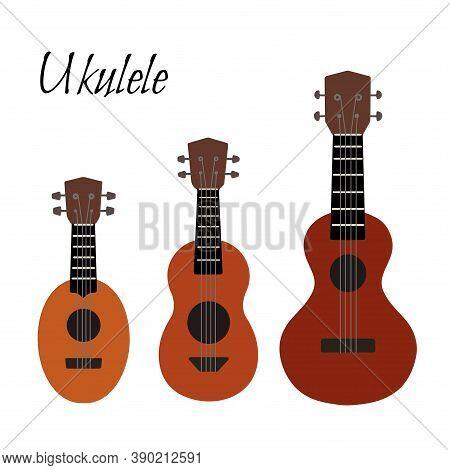 Set Of Flat Color Cartoon Ukulele. Hawaiian Music. Musical String Instrument. Vector Element For Pos