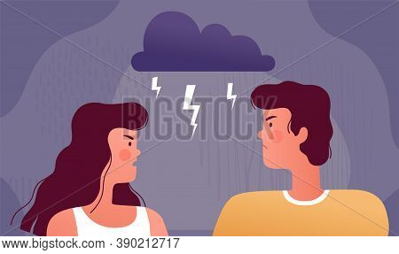 Bad Family Relationships. Young Couple Are Quarreling. Psychological Concept Of Quarrel, Domestic Co
