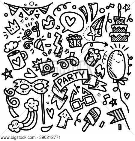 Illustration, Cute Hand Drawn Doodles ,set Of Party Illustration Hand Drawn Doodle Sketch Line