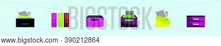 Set Of File Cabinet Cartoon Icon Design Template With Various Models. Vector Illustration Isolated O