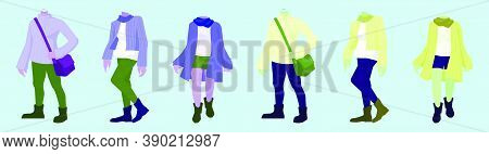 Set Of Fall Fashion Cartoon Icon Design Template With Various Models. Vector Illustration Isolated O