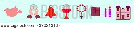 Set Of Eucharist Cartoon Icon Design Template With Various Model. Vector Illustration Isolated On Bl