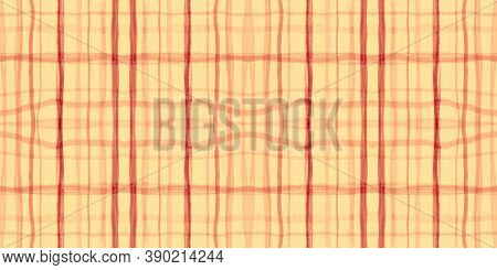 Summer Tartan Pattern. Watercolor Plaid Texture. Irish Stripes For Tile Design. Seamless Autumn Tart