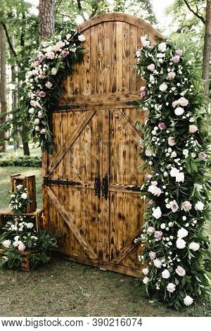 Wooden Arch Decorated With Flowers For A Wedding Ceremony,visiting Ceremony,wedding Day,wedding. Wed