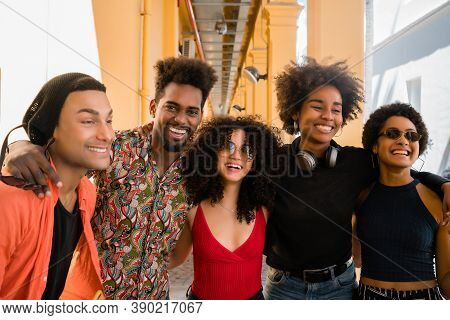 Afro Friends Having In The City.