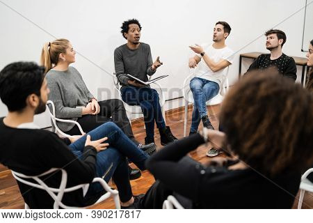 Group Of Multiethnic Creative Business People Working On A Project And Having A Brainstorming Meetin