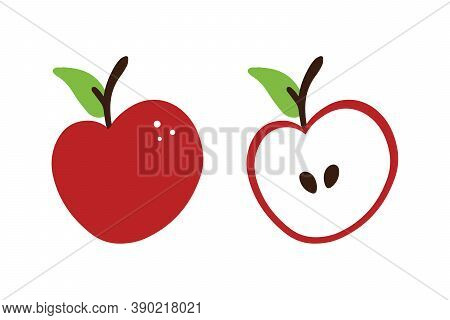 Fresh Red Apples Set, Collection. Whole And Cut In Half Apples Vector Icons, Illustration.