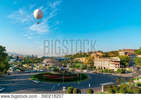 Tbilisi, Georgia - 14 October, 2020: Air Excursion Balloon For Passengers Over Old City Tbilisi