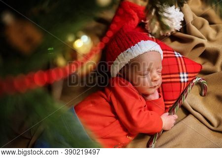 Cute Newborn Baby In Santa Hat. Sleeping Baby Under The Fir-tree. Closeup Portrait Of Newborn Baby.