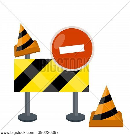 Road Works. Forbidding Sign And Barrier. Building Block Of The Highway. Danger Zone. Orange Cone. Ca