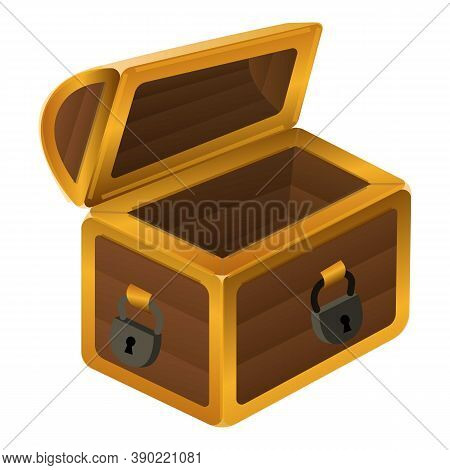 Empty Dower Chest Icon. Cartoon Of Empty Dower Chest Vector Icon For Web Design Isolated On White Ba