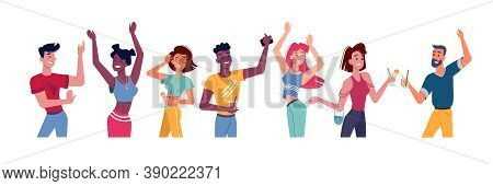 People Dance At Party Or Happy Flat Person At Disco. Friends Discotheque Or Young Crowd With Cocktai