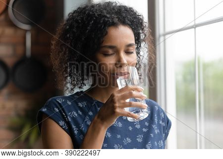 African American Woman Feel Thirsty Drinking Water
