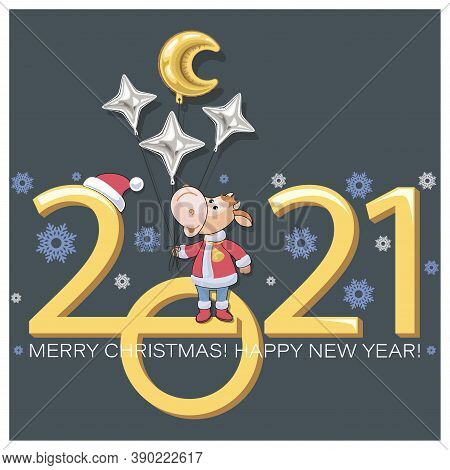 Bull. Year Calf. Chinese Symbol Of New Year 2021. Merry Christmas. Little Calf With Balloons